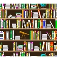 Cartoon bookshelves in the library vector image vector image