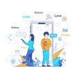 chatbot translates messages in social networks vector image vector image