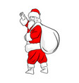 chinese santa clause waving hand with big white vector image