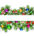 Christmas background with snow-covered branches of vector image vector image