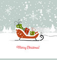 christmas card sledge with gifts for your design vector image vector image