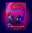 club poster with headphones dance party fluid vector image vector image