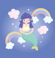 cute little mermaid bright rainbows clouds pretty vector image vector image