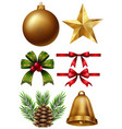 different christmas ornaments on white background vector image vector image