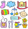 doodle of baby various toys vector image vector image