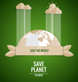 Ecology concept Paper cut of Globe and tree on vector image vector image