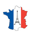 eiffel tower and flag of france vector image vector image