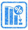 falling percent bar chart framed stamp vector image vector image