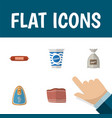 flat icon food set of beef canned chicken vector image vector image