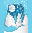 forest merry christmas tree and snowman vector image vector image