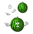 Fun happy cartoon watermelon character vector image