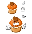 Funny cartoon fresh muffin with topping vector image vector image