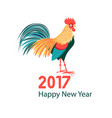 greeting christmas card with a rooster vector image
