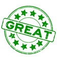 grunge green great word with star icon round vector image vector image