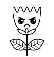 kawaii angry flower tulip leaves cartoon vector image