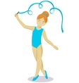 Little girl gymnast with ribbon vector image vector image