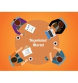 negotiated market team work together view from top vector image
