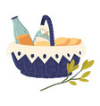 picnic with bottle and jar snack symbol and leaf vector image vector image