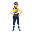 police woman wearing patrol summer uniform happy vector image