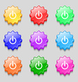 Power sign icon Switch symbol Symbols on nine wavy vector image vector image