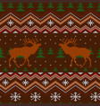 red deer winter knitted woolen seamless pattern vector image vector image