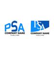 set initial letter psa logo template design vector image vector image