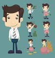 Set of businessman make money characters poses vector image