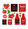 set template labels for tomato ketchup vector image vector image