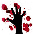 splashes of blood and hand black silhouette may vector image