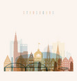 strasbourg skyline detailed silhouette vector image vector image