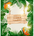 summer holiday background with exotic palm leaves vector image vector image