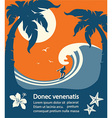 Surfer and big sea wave tropical island vector image vector image