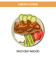 tasty iskander kebab with vegetables from turkish vector image