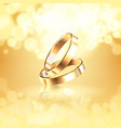 wedding rings realistic composition vector image vector image
