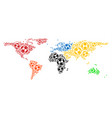 world map composition of soccer balls vector image