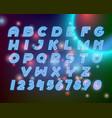 line neon alphabet font letters set vector image