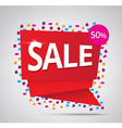 sale red banner 50 discount on confetti background vector image
