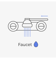 Faucet water tap thin line icon vector image