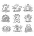anniversary coloring stickers style line art set vector image