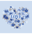 Vintage Floral Heart - for Valentines Day vector image