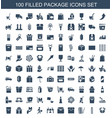 100 package icons vector image vector image