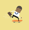 african businessman on skateboard with briefcase vector image