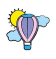 air balloon in the sky with clouds and sun vector image vector image