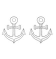 anchor outline icon and hand drawn sketch vector image vector image