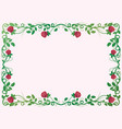 antique renaissance frame with red roses vector image vector image