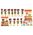asian girl kid poses set child classic vector image