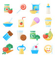 bafood flat icon set vector image vector image