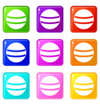 black with white stripes set 9 vector image vector image