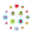 charity icons set comics style vector image vector image