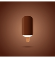 Chocolate and vanilla ice cream pops on brown vector image